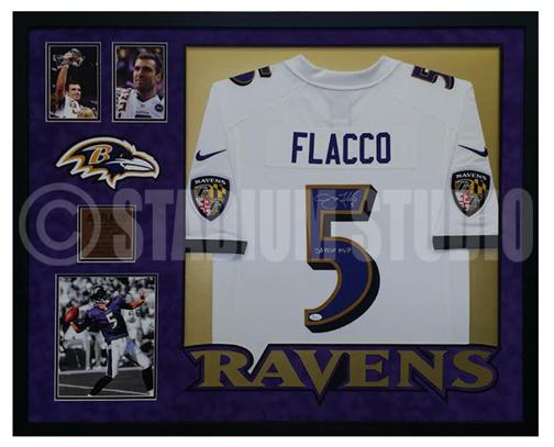 Joe Flacco Autographed Framed Ravens Jersey
