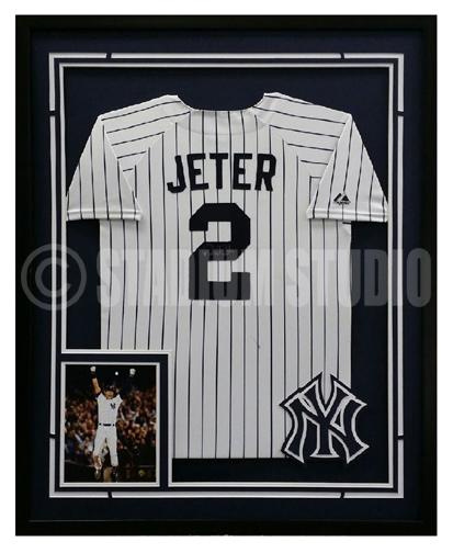 Derek Jeter Autographed Framed Yankees Jersey The