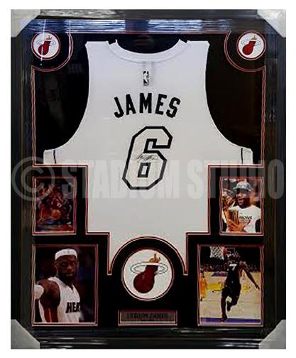 Lebron James Autographed Framed Heat Jersey