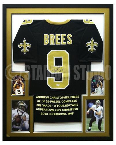 Drew Brees Autographed Framed Saints Jersey The Stadium Studio