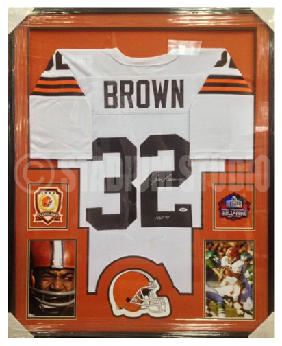 Jim Brown Autographed Framed Browns Jersey