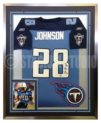 Chris Johnson Autographed Framed Titans Jersey