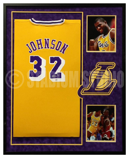 Magic Johnson Autographed Framed Lakers Jersey