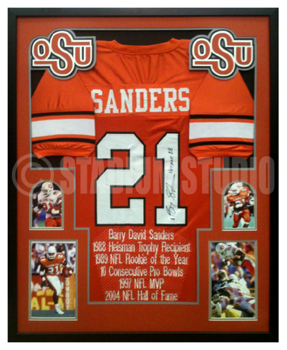 Barry Sanders Autographed Framed Oklahoma State Cowboys Jersey