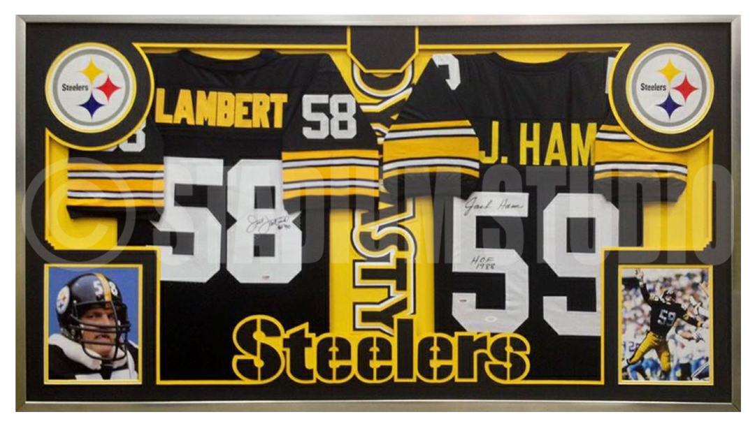 new style b6b57 9c958 Jack Lambert and Jack Ham Autographed Double Framed Steelers Jerseys